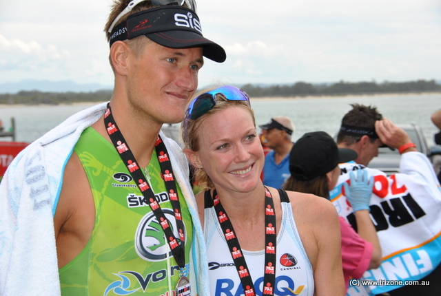 Clayton Fettell and Carrie Lester - 2011 Port Macquarie 70.3 Winners