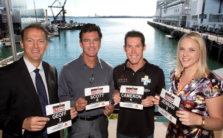 Pictured in front of the swim start for January's new Ironman 70.3 Auckland Asia Pacific Championship at the launch today, from left, Geoff Myer from Ironman Asia Pacific, original ironman New Zealand winner Scott Molina, 10-times Ironman NZ champion Cameron Brown, Jennah Wootten from Auckland Tourism, Events and Economic Development.