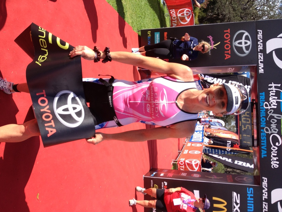 A very happy Liz Blatchford wins Huskisson after coming from behind on the run