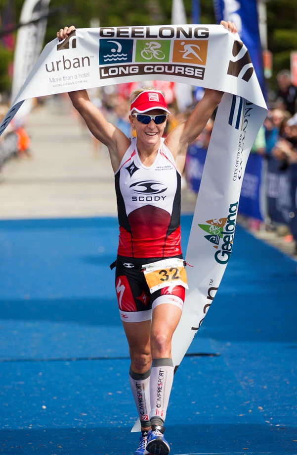 Melissa Hauschildt taking another triathlon title - Photo Credit: Eyes Wide Open Images
