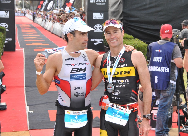 There was a lot of mutual respect and the finishline. Eneko Llanos and Craig Alexander at Ironman Melbourne 2013