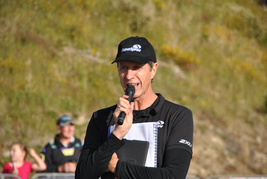 Super Sprint CEO David Hansen on the microphone at Falls Creek in 2012