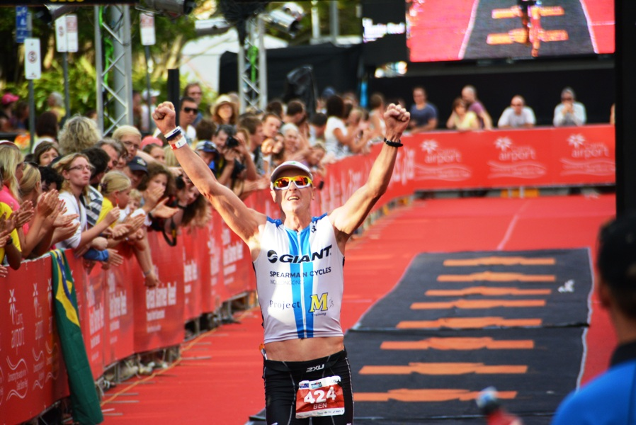 Ben Bell celebrates being the first age grouper at Ironman Cairns