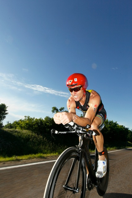 Craig Alexander on his way to another win at Ironman Kansas 70.3. Credit: Elizabeth Kreutz (via craigalexander.net)