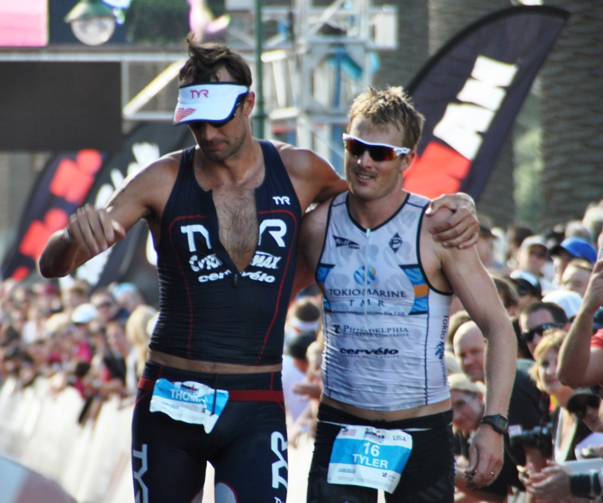 Tyler with Tom Lowe at the finish of Ironman Melbourne 2013