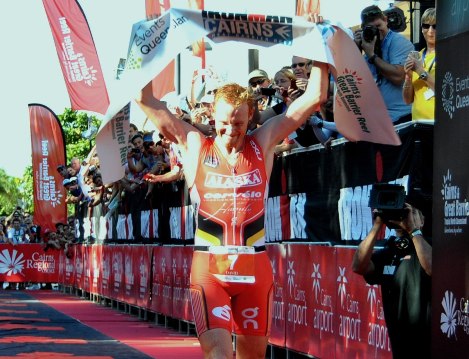 David Dellow celebrating his first IM victory in Cairns