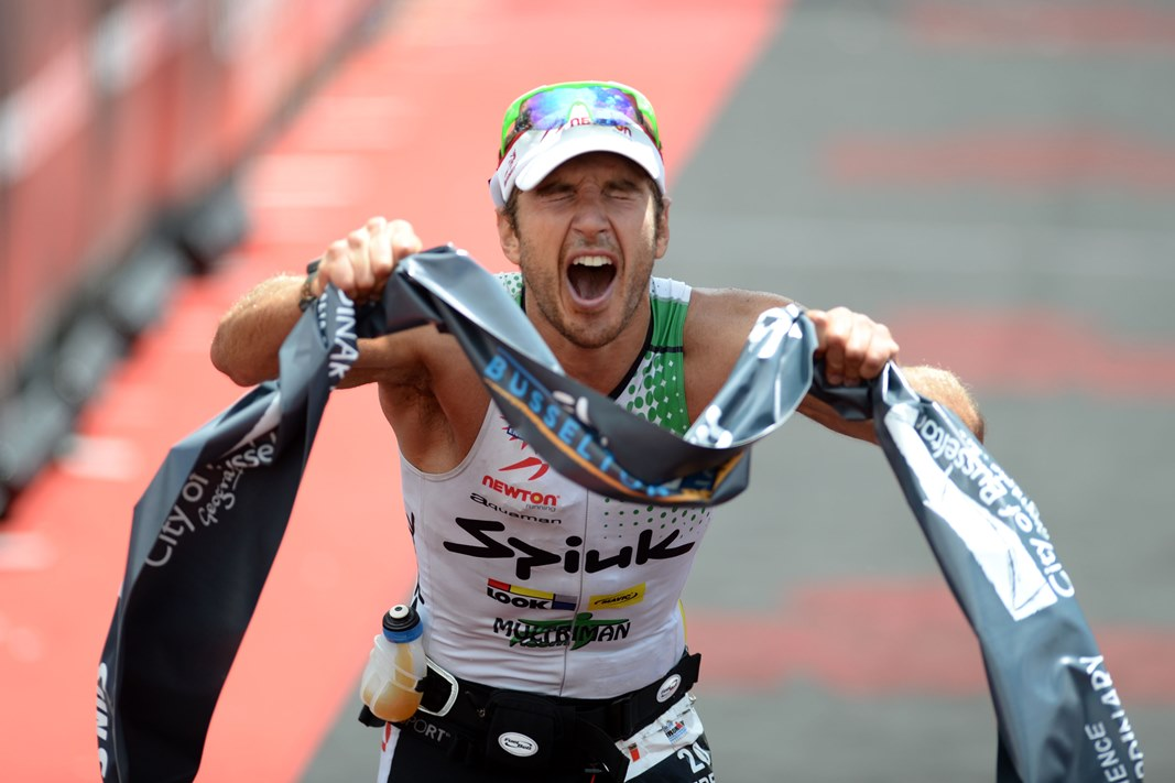 Jurkiewicz's elation is captured by Delly Carr in one of the best finishing shots seen - Photo Credit Delly Carr/Ironman