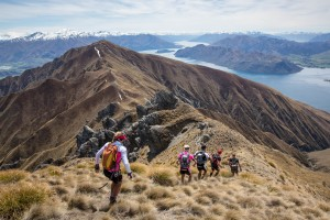 Competitors perform during the run stage during the Red Bull Defiance in Wanaka