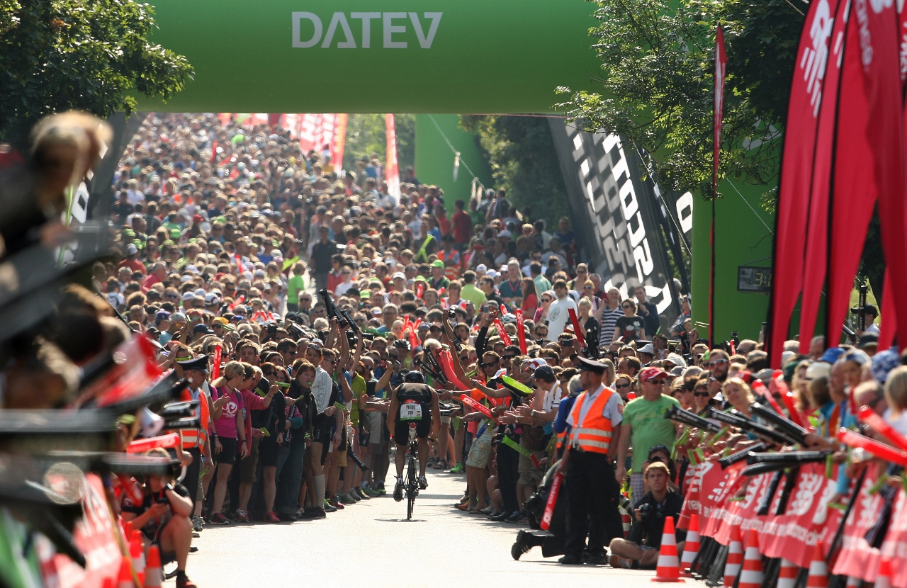 Crowds congregate on Solar Hill on the bike stage during the Challenge Roth Triathlon on July 14, 2013 in Roth, Germany. (Photo by Stephen Pond/Getty Images)