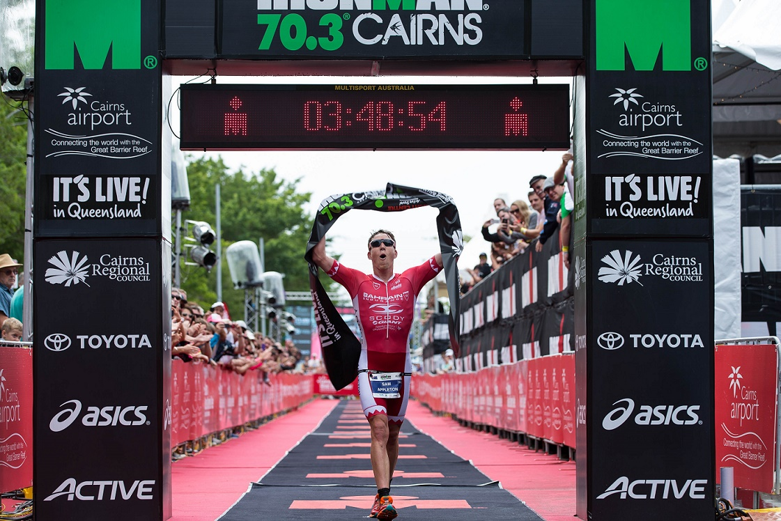 A great victory for Sam Appleton: Photo credit: @koruptvision // IRONMAN Asia-Pacific