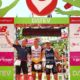 ROTH, GERMANY - JULY 12:  Gold meadlist Nils Frommhold of Germany (C), Silver Medalist Timo Bracht of Germany (R) and Bronze medalist David Dellow of Austria (L) pose for a photo on the finish line after winning the Men's Challenge Triathlon Roth on July 12, 2015 in Roth, Germany.  (Photo by Jordan Mansfield/Getty Images for Challenge Triathlons) *** Local Caption *** Nils Frommhold; Timo Bracht; David Dellow