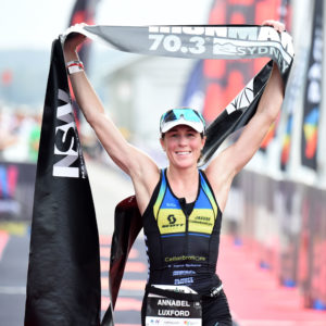 Annabel Luxford enjoys that winning feeling again - Photo Credit: Delly Carr / Ironman.com