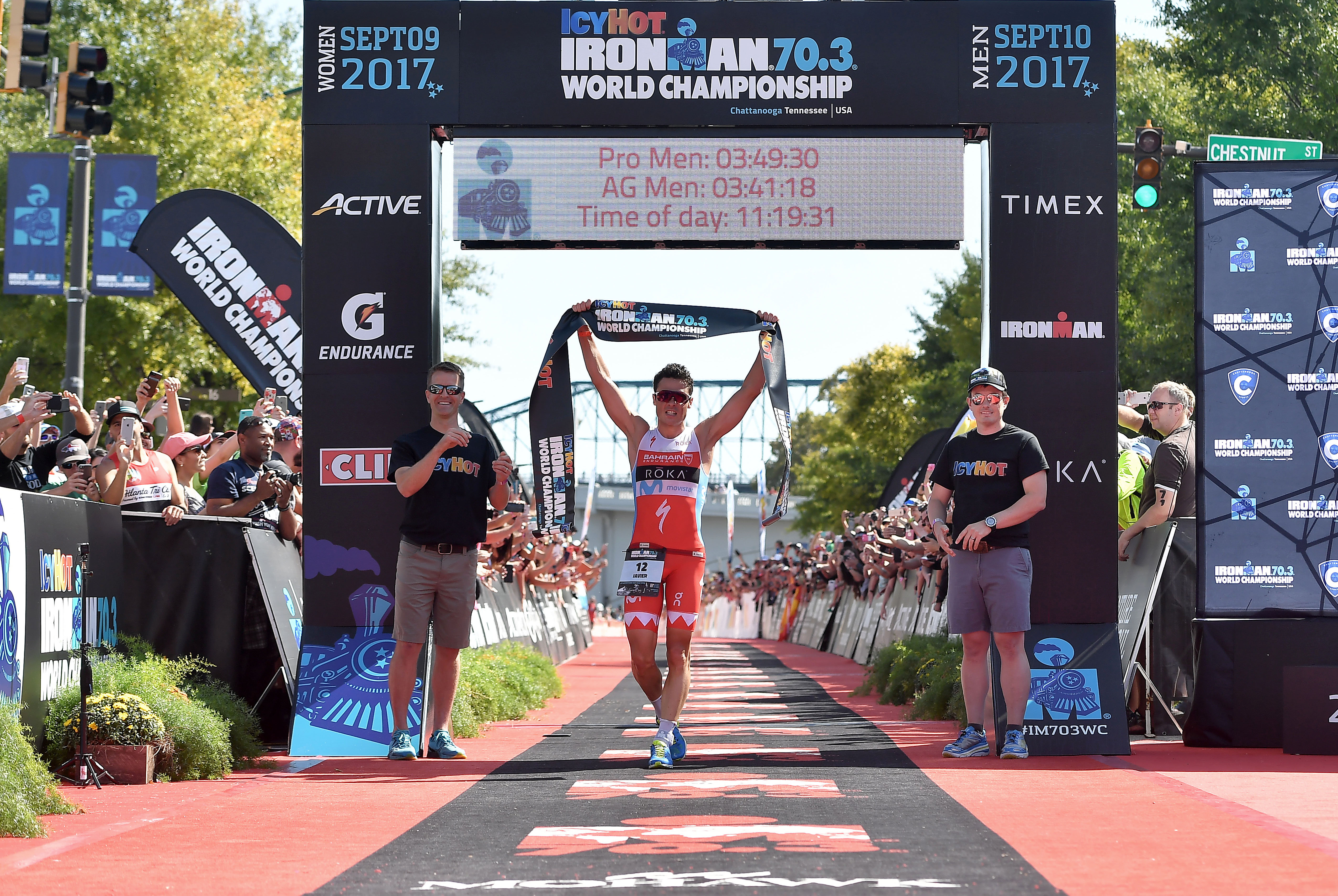CHATTANOOGA, TN - SEPTEMBER 10:   Javier Gomez of Spain crosses the finish line for a 1st place finish during the the Men's IRONMAN 70.3 St. World Championships on September 10, 2017 in Chattanooga, Tennessee. (Photo by Donald Miralle for Ironman)