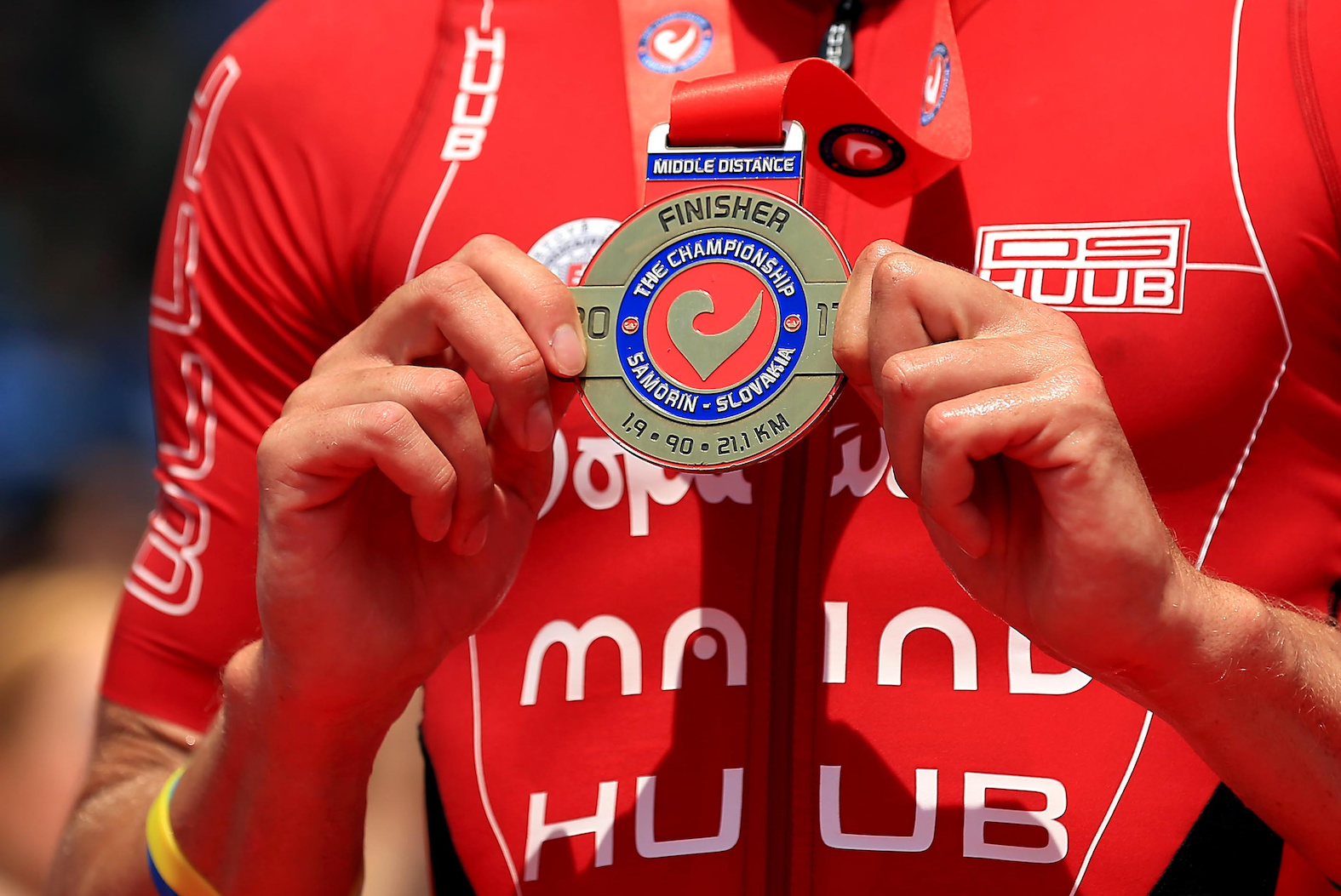 BRATISLAVA, SLOVAKIA - JUNE 3:  Richard Varga of Slovakia poses with his finishers medal after The Championship Challenge Triathlon on June 3, 2017 in Bratislava, Slovakia. (Photo by Stephen Pond/Getty Images for Challenge Triathlon) *** Local Caption *** Richard Varga