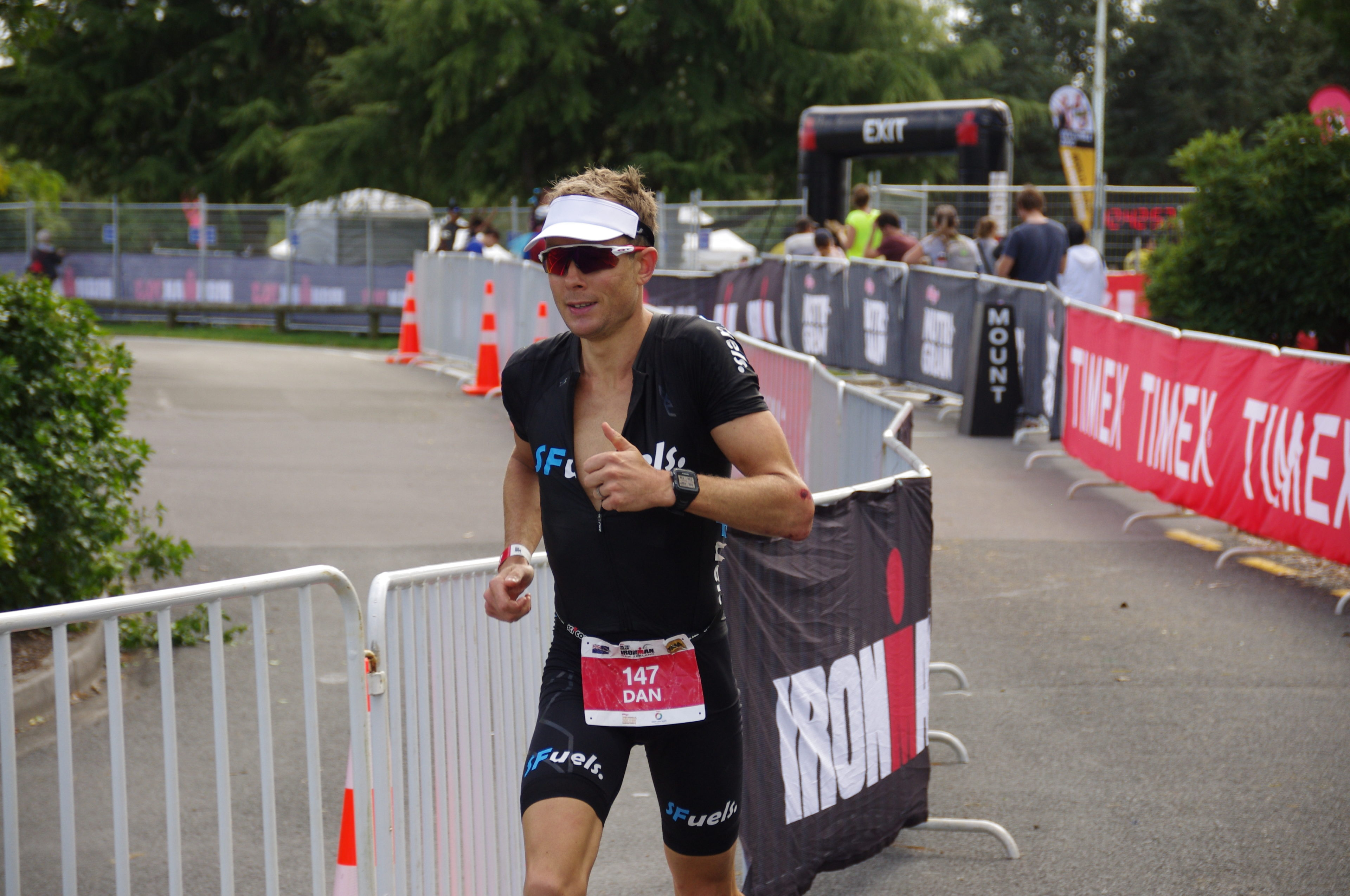 Exiting T2 at Ironman New Zealand (Photo Denny Wells)