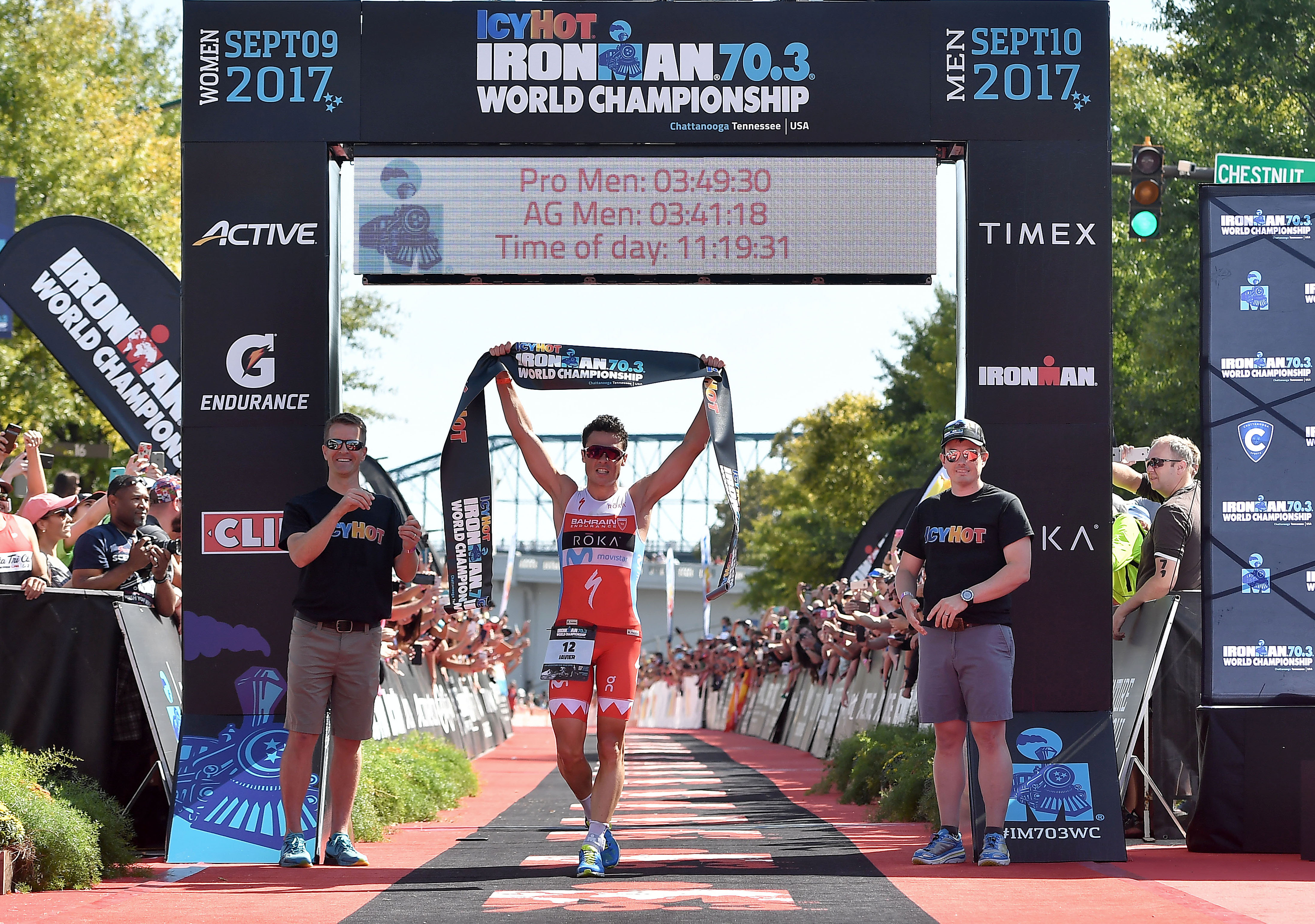 Javier Gomez of Spain crosses the finish line for a 1st place finish during the the Men's IRONMAN 70.3 St. World Championships on September 10, 2017 in Chattanooga, Tennessee. (Photo by Donald Miralle for Ironman)