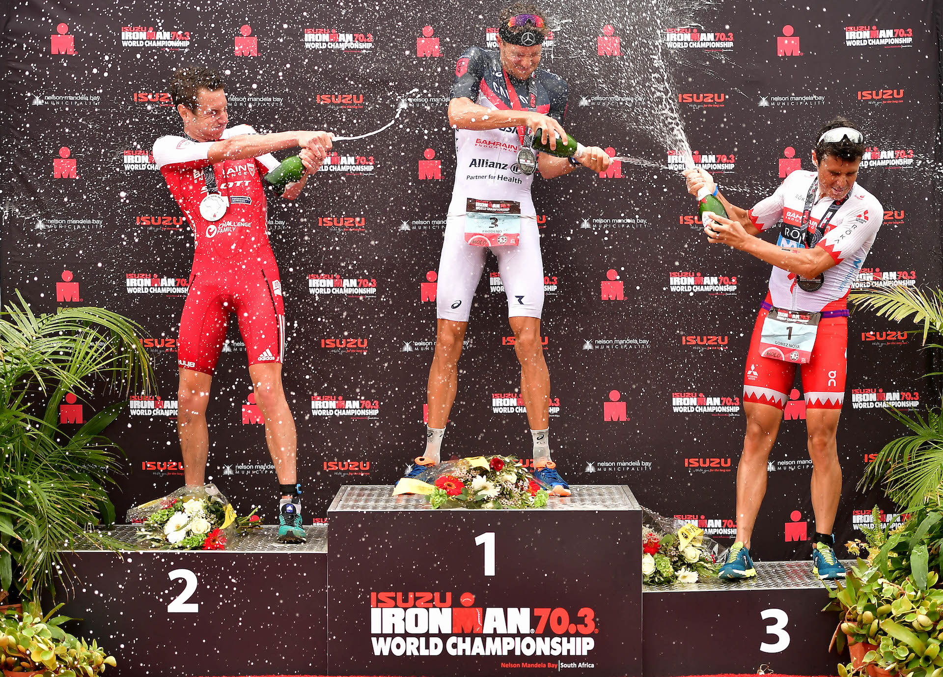 BIG MAN ON TOP: Jan Frodeno of Germany scored his second IRONMAN 70.3 World Championship after posting a time of 3:36:30  over second place Alistair Brownlee and third place Javier Gomez Noya (Photo by Donald Miralle/Getty Images for IRONMAN)