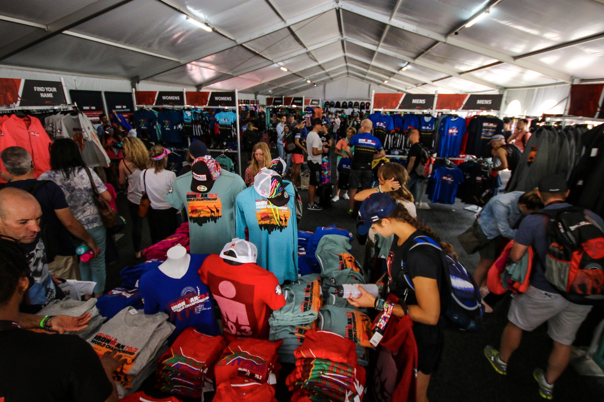 SWAG: The IRONMAN merchandise store has been a popular destination for the masses to pick up a gift for family and friends or as a keepsake item for themselves to commemorate their participation in the 2018 Isuzu IRONMAN 70.3 World Championship triathlon in Nelson Mandela Bay, South Africa (Photo by Craig Muller/IRONMAN)