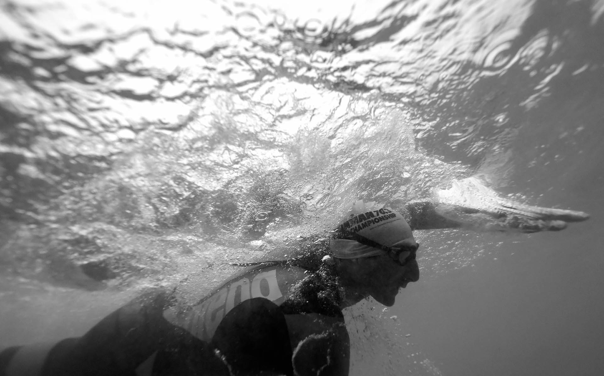 THROUGH THE LOOKING GLASS: The men's division got their chance to shine during the 2018 IRONMAN 70.3 World Championship. The elite professional men led the age-group males into the water on Sunday, Sept. 2 (Photo by Donald Miralle/Getty Images for IRONMAN)