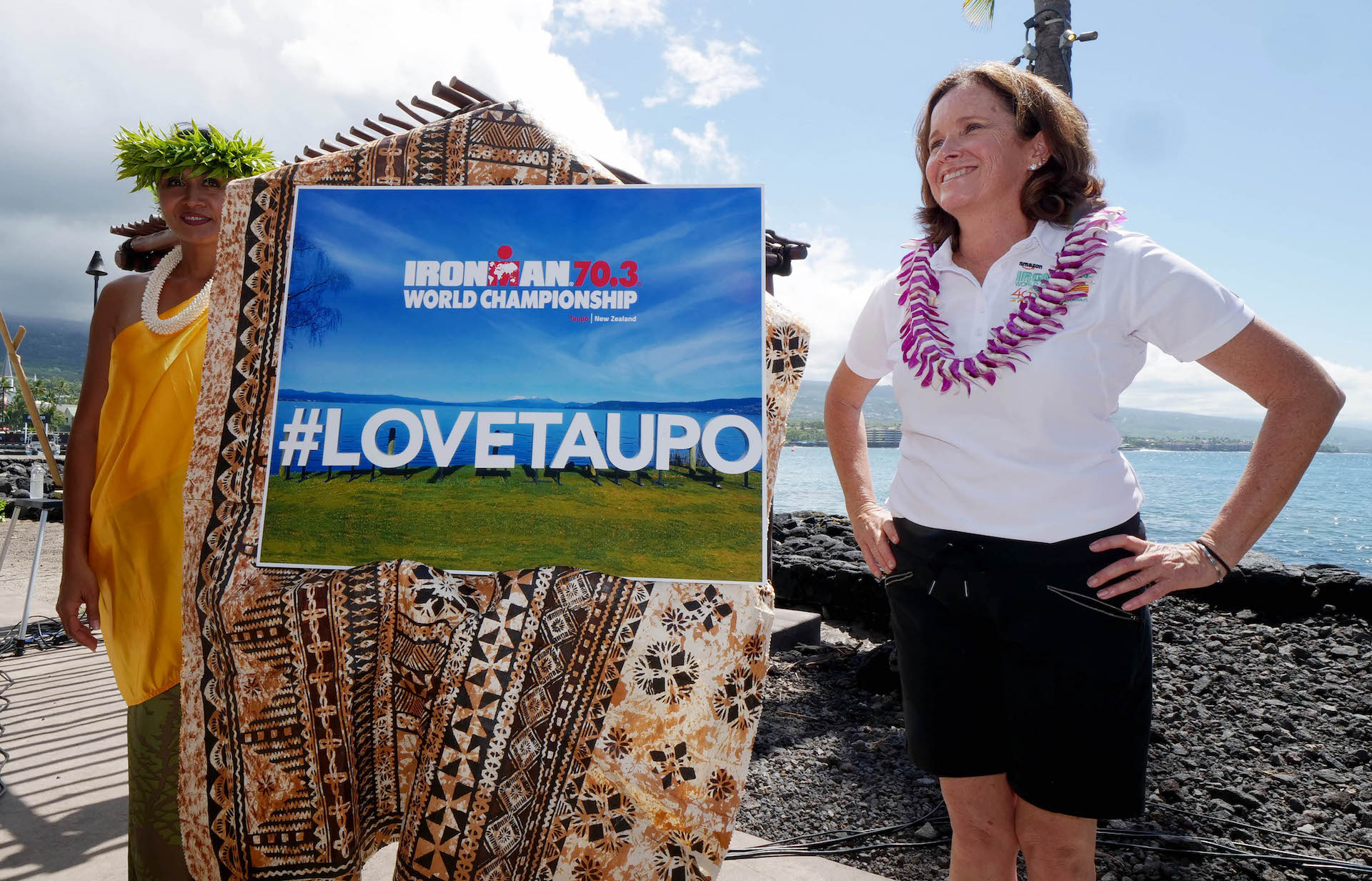 FROM TAUPÕ WITH LOVE: IRONMAN Vice President of World Championship Events, Diana Bertsch shows her delight after the announcement that the 2020 IRONMAN 70.3 World Championship will be held in Taupõ, New Zealand. The 2019 edition of the race will be hosted in Nice, France. (Photo by Donald Miralle/ IRONMAN)