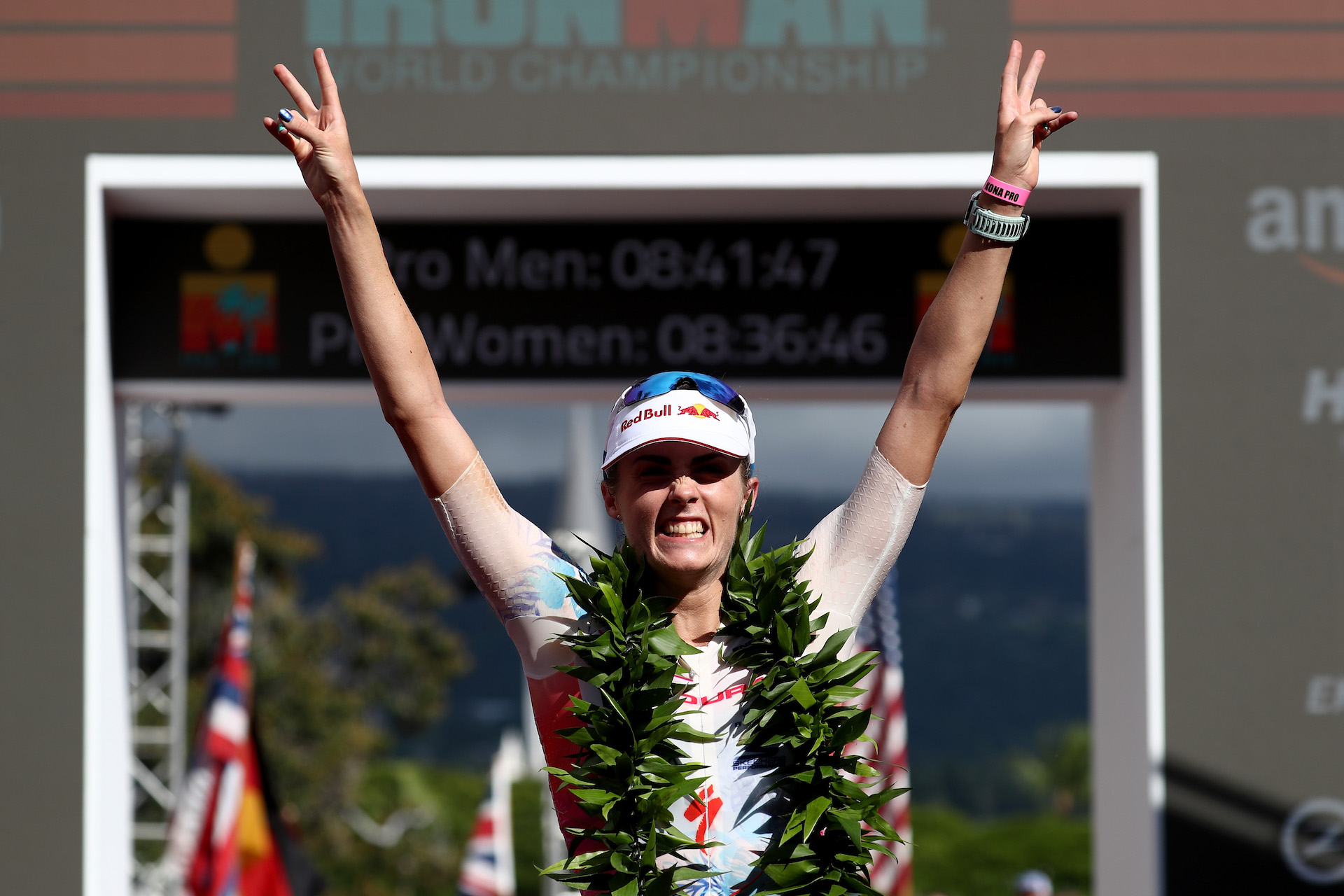 Lucy Charles of Great Britain celebrates after finishing second with a time of 8:36:32 during the IRONMAN World Championships (Photo by Al Bello/Getty Images for IRONMAN)