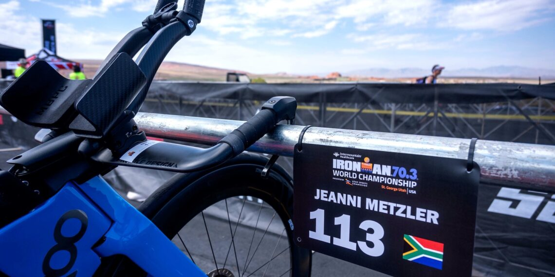 South African Jeanni Metzler's bike is racked and ready for race day at the 2021 IRONMAN 70.3 World Championship. Photo: Donald Miralle/IRONMAN.