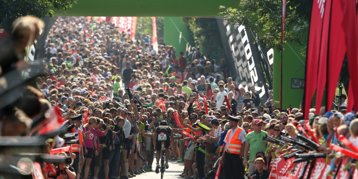 Crowds congregate on Solar Hill on the bike stage during the Challenge Roth Triathlon on July 14, 2013. Photo: Stephen Pond/Getty.