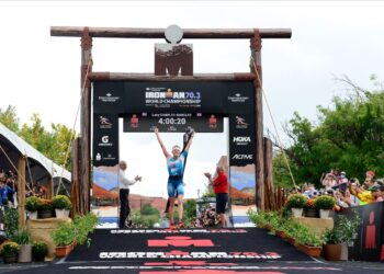Lucy Charles-Barclay earns her first world title in a dominating performance at the 2021 IRONMAN 70.3 World Championship. Photo: Patrick McDermott/Getty Images for IRONMAN.