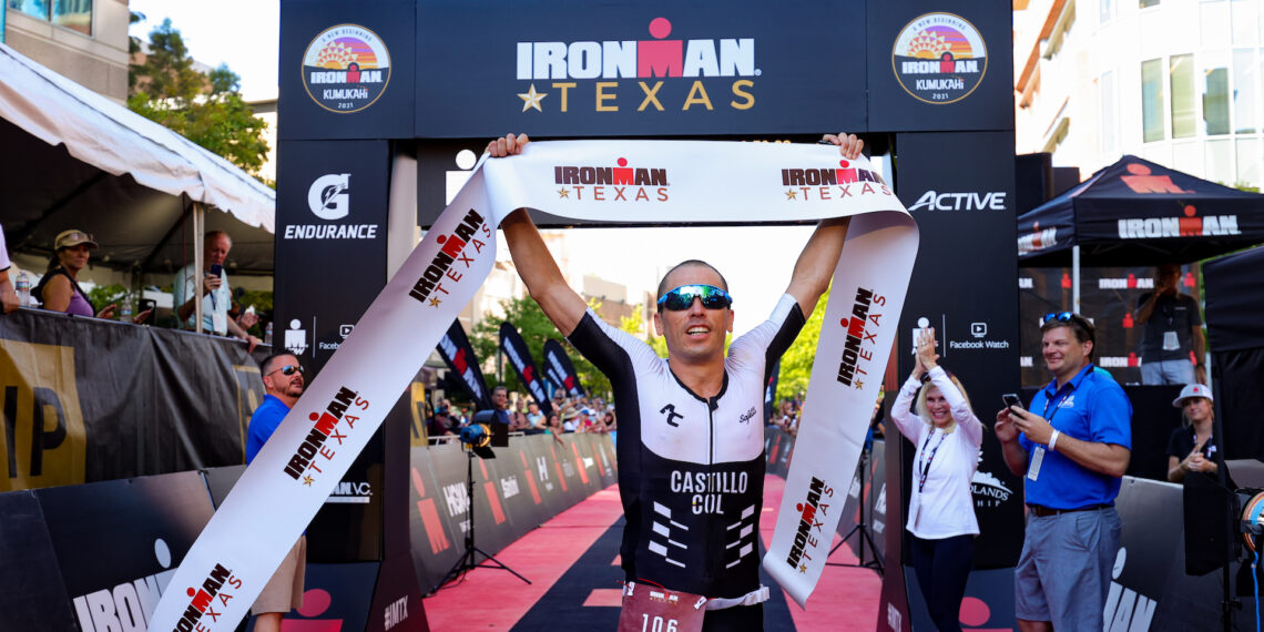 Andres Castillo Latorre finishes first for male age group athlete  during the Texas Ironman on October 09, 2021. Photo by Carmen Mandato/Getty Images for IRONMAN.